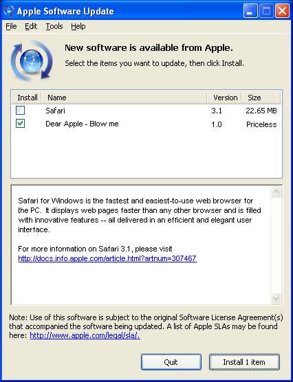 Apple Safari for Windows - Blow me