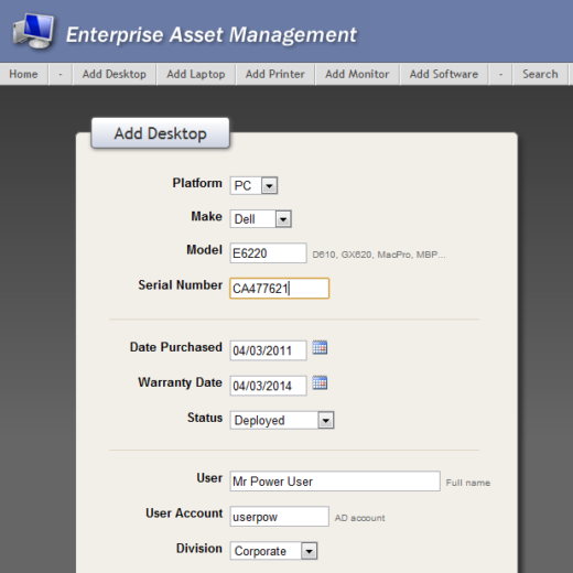 IT Enterprise Asset Management Database