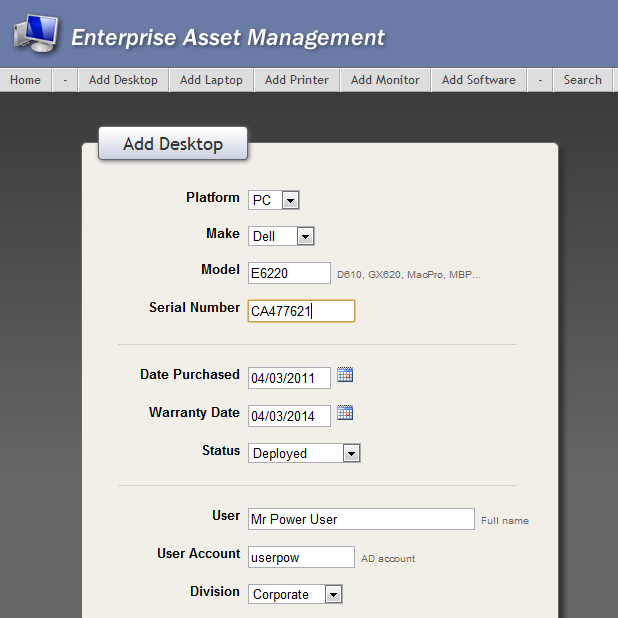 IT Enterprise Asset Management Database