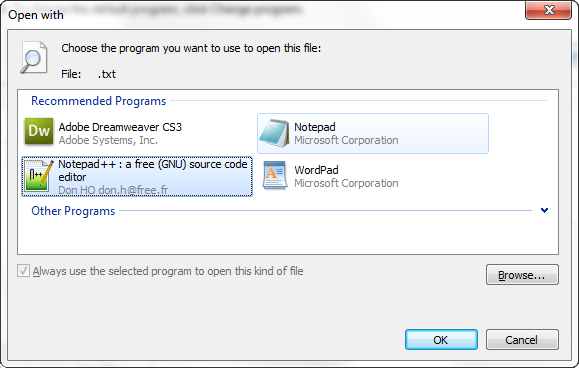 Replace Notepad with Notepad ++