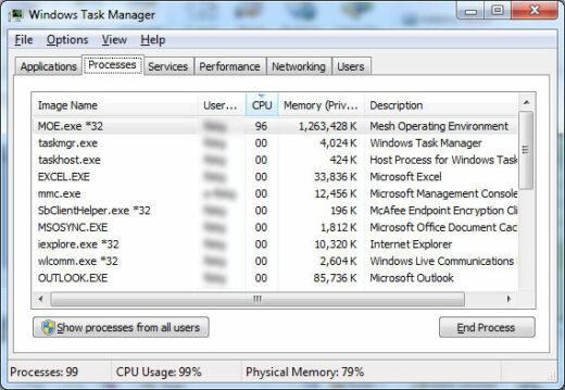 Microsoft Live Mesh memory use