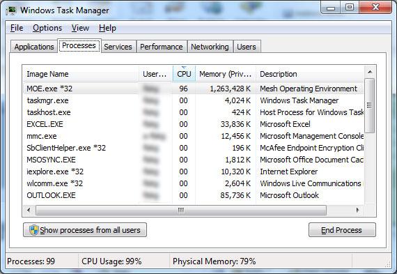 Microsoft Live Mesh memory & CPU use