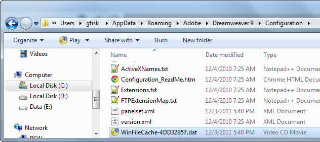 Dreamweaver WinFileCache.dat