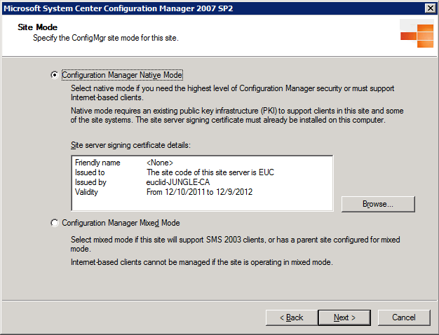SCCM Native Mode Site Certificate