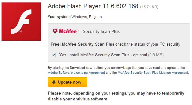 Adobe Flash Update - Mcafee