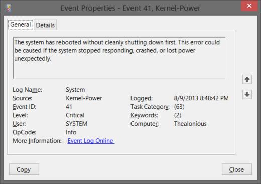 Asus Zenbook - Event ID 41 - Crash after sleep mode