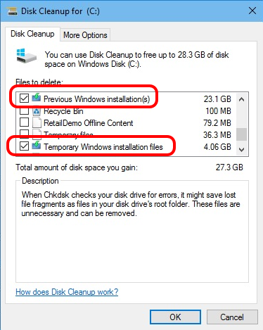 Disk Cleanup - Previous Windows Installation