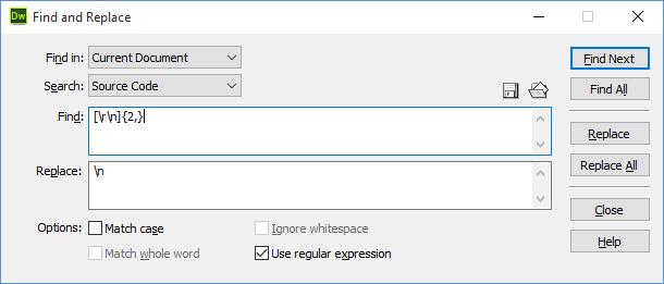 Dreamweaver - Replace Empty Lines