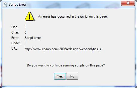 Dialog Box - Epson fail