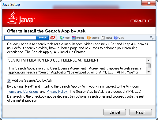 Dialog Box - Java installs the Ask Toolbar