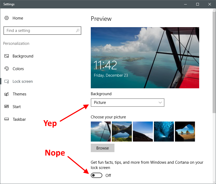 Disable Ads & Store Messages on Windows 10 Lock Screen | g fisk