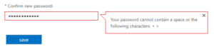 Dialog Box - Office 365 Doesn't allow spaces in password