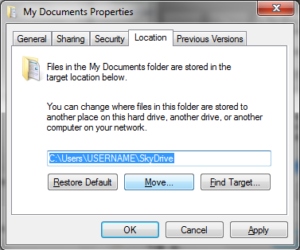OneDrive Documents Location SkyDrive