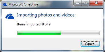 OneDrive importing photos