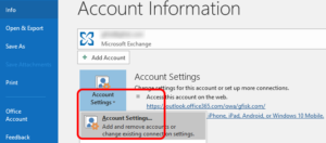 Outlook - Account Settings