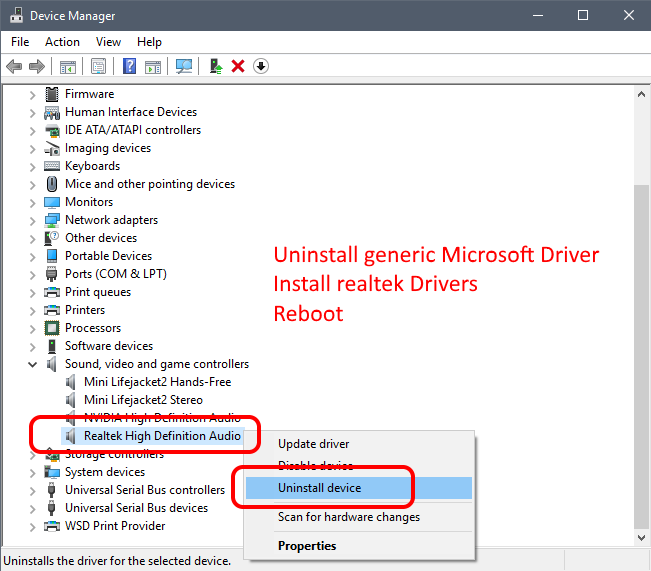RealTek Audio Driver install loop Windows 10 | g fisk