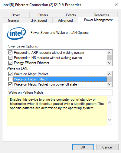Ethernet - Power Management - Wake on Pattern Match