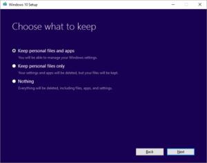 Upgrade Windows 10 - What to Keep