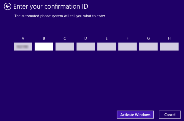 Windows Activation - Confirmation ID