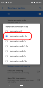 Developer Options - Animation Scale