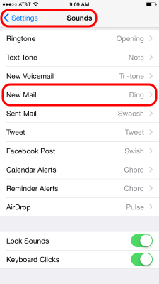 iPhone Email Notifications - New Mail