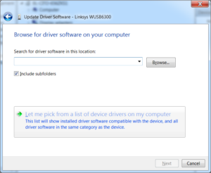 Pick from list of device drivers