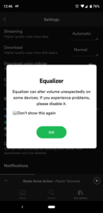 Spotify - Volume Equalizer issue on Android